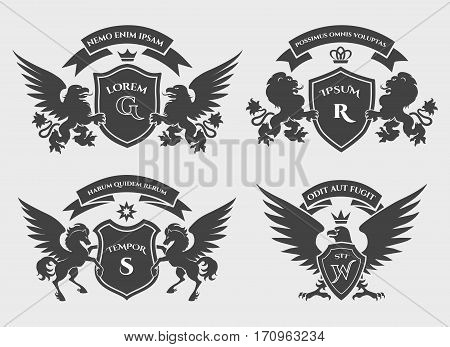 Crests logo set. Vector heraldry royal symbols with horses, gryphons and lions