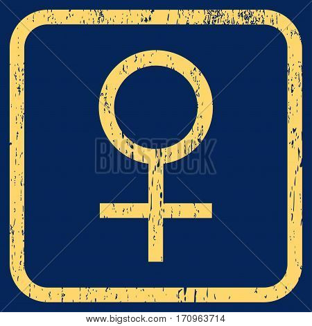 Venus Female Symbol rubber watermark. Vector pictogram symbol inside rounded rectangular frame with grunge design and unclean texture. Stamp seal illustration.