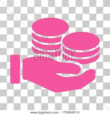 Salary Hand icon. Vector illustration style is flat iconic symbol pink color transparent background. Designed for web and software interfaces.