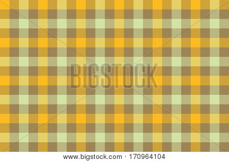 Yellow brown check fabric texture background seamless pattern. Vector illustration. EPS 10.