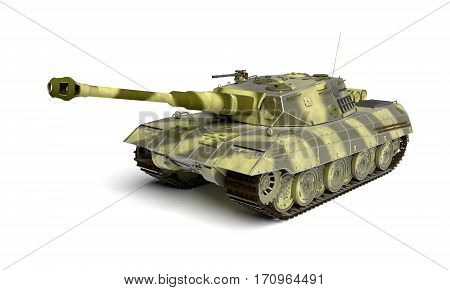 Army Tank Isolated On White