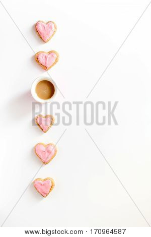 cookies for Valentine's Day heartshaped on white background top view pattern