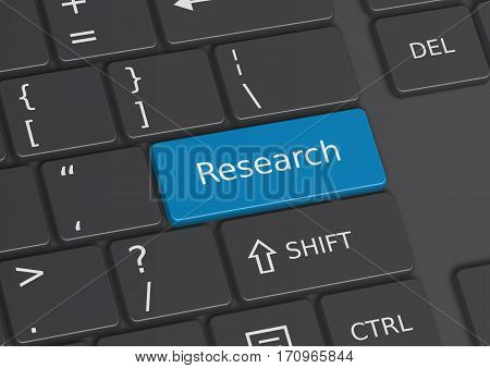 A 3D Illustration Of The Word Research Written On The Keyboard
