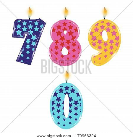 Set of Colorful Birthday Candles Isolated on White Background. Numbers Seven, Eight, Nine, Zero. Vector Illustration Design for Children Party, Baby Shower, Wedding.