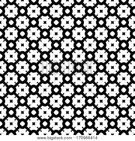 Vector seamless pattern, simple abstract black & white texture. Smooth geometric figures, illustration of lattice. Endless monochrome repeat background. Design for prints, textile, decoration, furniture, fabric, cloth