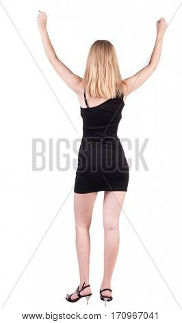 Back view of happy business woman in dress .   l. Rear view people collection.  backside view of person.  Isolated over white background.
