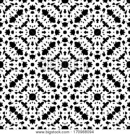 Vector monochrome seamless pattern, repeat ornamental backdrop, oriental style. Abstract black & white mosaic background. Endless geometric specular texture. Design for prints, fabric, textile, decoration, digital, web