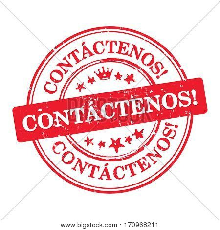 Contact us - Spanish language (Contactenos) - business label / sticker  / sign / icon, also for print