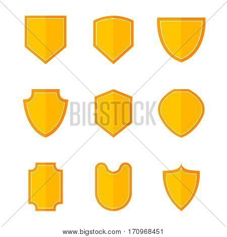 Flat shield set. Shields vector illustration. Collection of color symbols on white background. Color shields for web design. Shield isolated vector icon set.