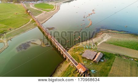 Aerial top view of the U-Bein bridge, in teak wood, Myanmar