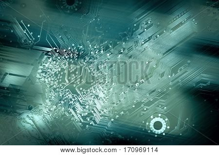 uneven abstract spotted and faded circuit board silhouette background