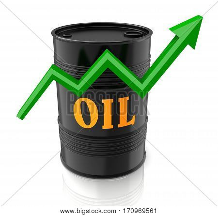 oil barrel and upward graph 3d illustration isolated on white background