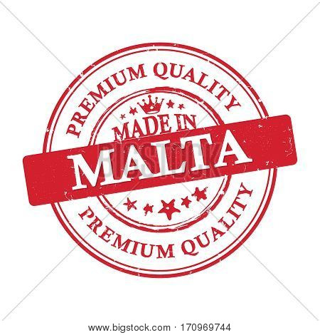Made in Malta, Premium Quality grunge printable label / stamp / sticker. CMYK colors used.