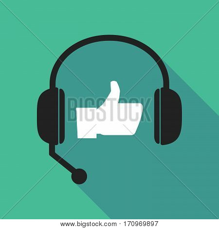 Long Shadow Headphones With A Thumb Up Hand
