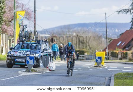 Conflans-Sainte-HonorineFrance-March 62016: The Spanish cyclist Mikel Nieve Iturralde of Team Sky riding during the prologue stage of Paris-Nice 2016.