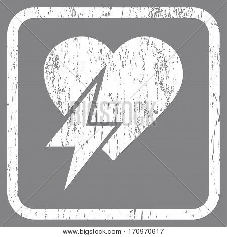 Heart Shock rubber watermark. Vector pictogram symbol inside rounded rectangle with grunge design and unclean texture. Stamp seal illustration. Unclean white ink sign on a gray background.