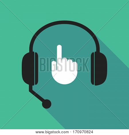 Long Shadow Headphones With A Pointing Hand