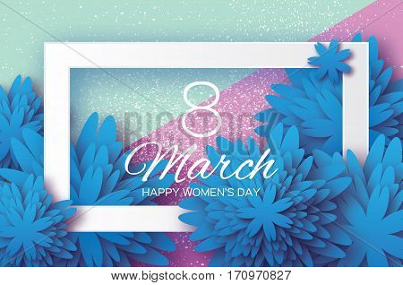 Blue Paper Cut flower. 8 March. Women's Day Greeting card. Origami Floral bouquet. Rectangle frame. Space for text. Happy Mother's Day. Geometry background Vector Spring illustration