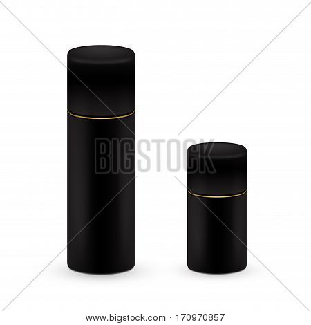 Black big and small Bottles of aerosol spray, metal bottle for cosmetic, perfume or hairspray. Deodorant packing