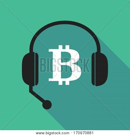 Long Shadow Headphones With A Bit Coin Sign