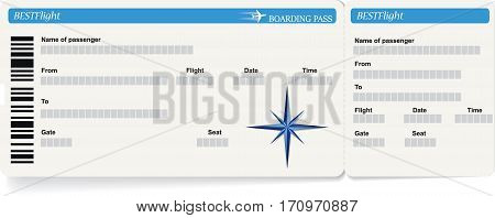 Blue vector template of boarding pass ticket. Concept of trip or travel