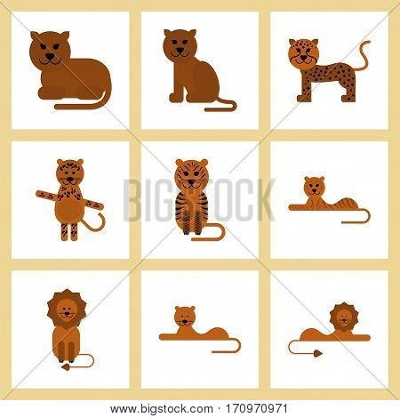 assembly of flat icons nature cartoon tiger lion panther leopard