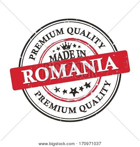 Made in Romania, Premium Quality grunge printable label / stamp / sticker. CMYK colors used.