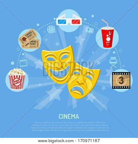 Cinema and Movie time concept with flat icons theater masks, popcorn, tickets, 3d glasses, film frame with countdown, isolated vector illustration