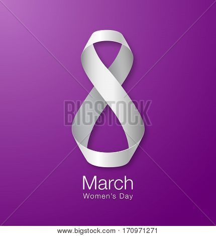 March 8 - Womens Day Paper Design of greeting card template. International Women's day Realistic symbol of white ribbon on purple violet background. Vector illustration.