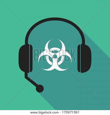 Long Shadow Headphones With A Biohazard Sign