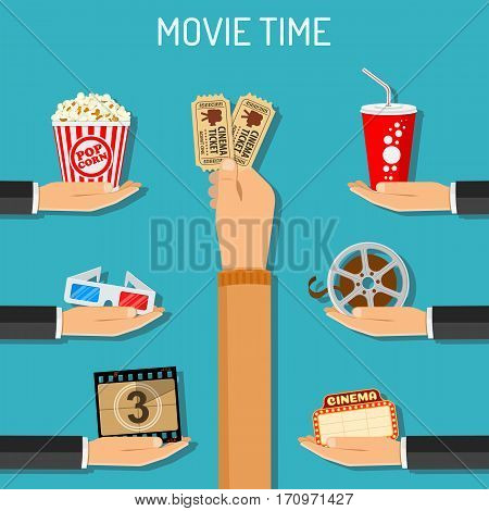 Cinema and Movie time concept with flat icons 3D glasses, popcorn and tickets in hands, isolated vector illustration