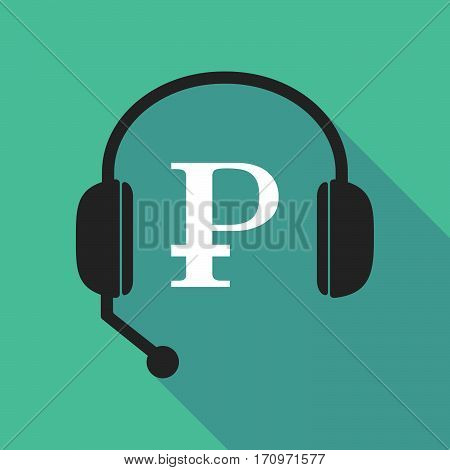 Long Shadow Headphones With A Ruble Sign