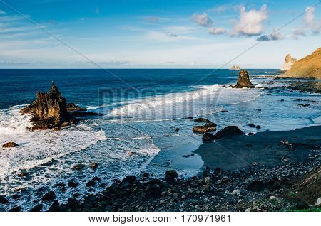 Overlook on picturesque Benijo beach or Playa de Benijo Tenerife island Spain
