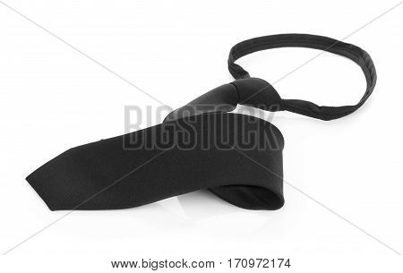 Closeup Black necktie isolated on white background