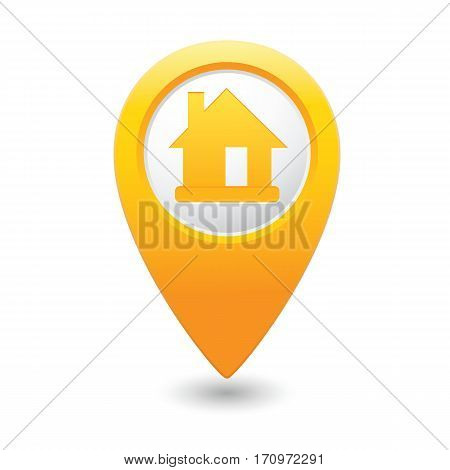 Map pointer with home icon. Vector illustration