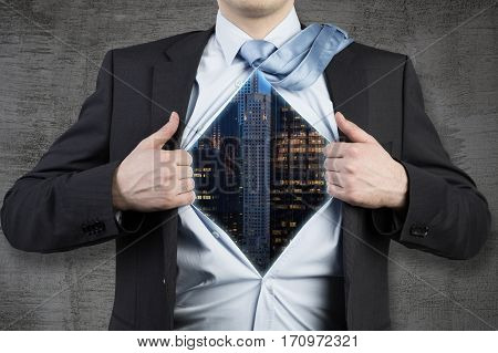 Close Up Of Man With A City