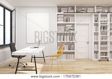 Home Library With A Desk