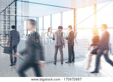 People are going past a reception counter in an office. There is an open office with glass walls in the background. 3d rendering. Toned image. Double exposure.
