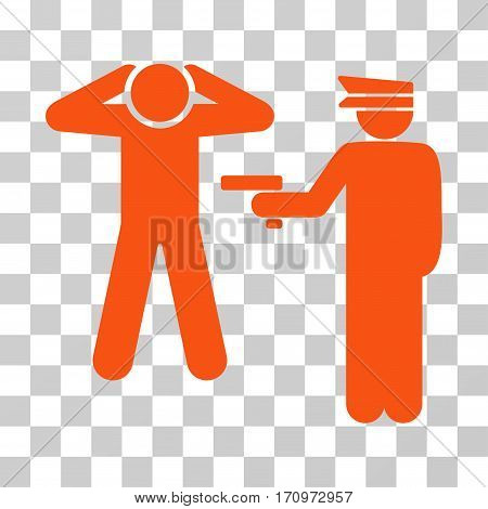 Arrest icon. Vector illustration style is flat iconic symbol orange color transparent background. Designed for web and software interfaces.