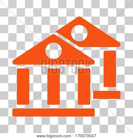 Banks icon. Vector illustration style is flat iconic symbol orange color transparent background. Designed for web and software interfaces.