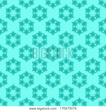 Seamless pattern with snowflakes on blue background. Vector Illustration