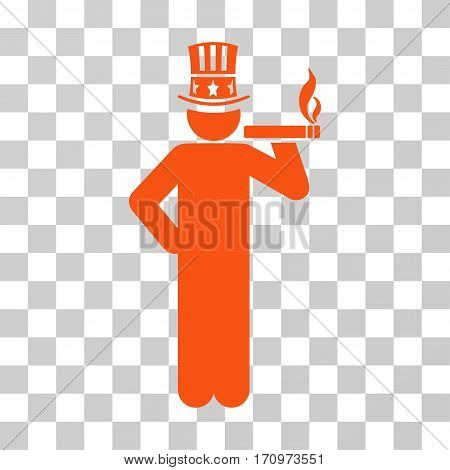 Capitalist icon. Vector illustration style is flat iconic symbol orange color transparent background. Designed for web and software interfaces.