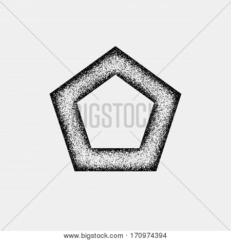 Black abstract geometric badge, polygon, hex shape with film grain, noise, dotwork, grunge texture and light background for logo, design concepts, posters, banners, web and prints. Vector illustration