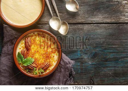 Treditsiozny French Dessert. Homemade Cream Caramel With Nuts An