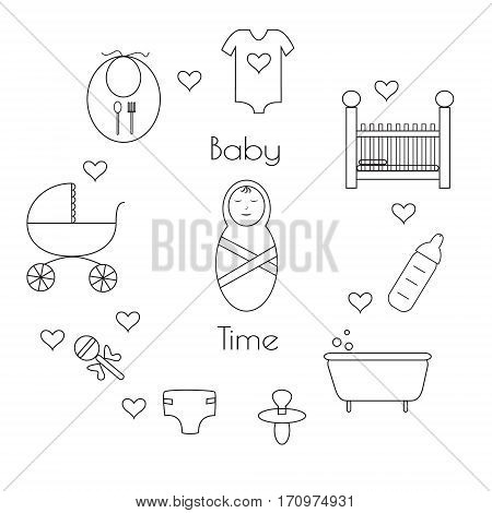 Set of baby icons. Supplies for newborn.