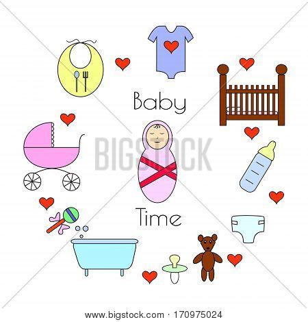 Set of baby icons. Supplies for newborn vector illustration.