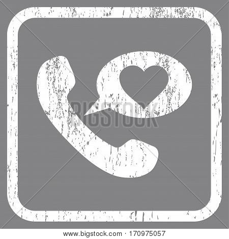 Love Phone Message rubber watermark. Vector pictogram symbol inside rounded rectangular frame with grunge design and dirty texture. Stamp seal illustration.