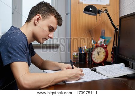 Teenager Doing Homework With Computer