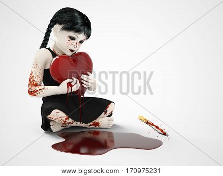 3D rendering of an evil gothic looking blood covered small girl holding a bleeding heart. There is a knife on the floor and a puddle of blood. White background.