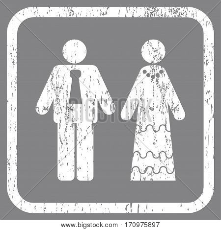 Newlyweds rubber watermark. Vector icon symbol inside rounded rectangle with grunge design and dust texture. Stamp seal illustration. Unclean white ink sign on a gray background.